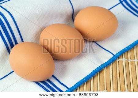 Boiled Chicken Eggs Lying On A Napkin