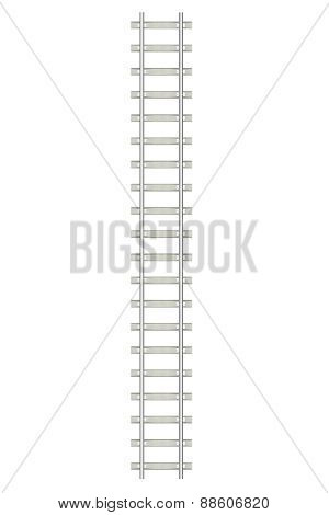 Direct railway isolated on white background