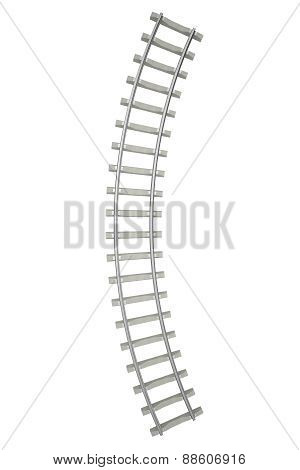 Curved railway isolated on white background.