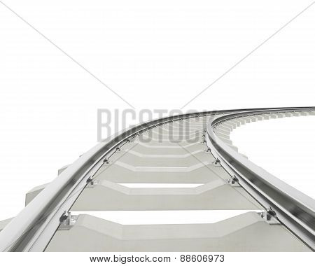 Illustration bend, turn railroad isolated on white background.