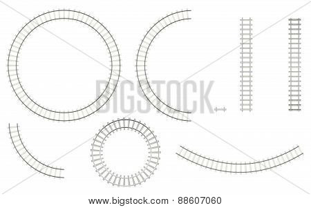 Set railways, isolated on a white background to create your image, top view. 3d illustration high re