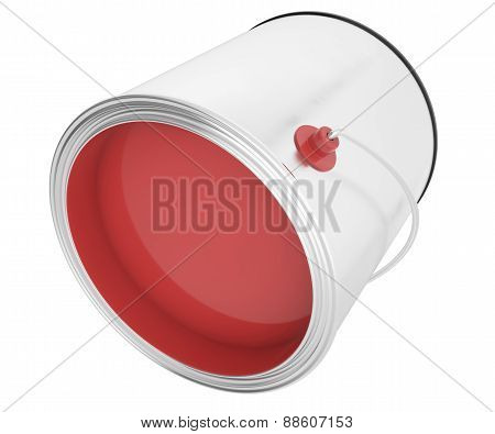 Full bank red paint isolated on white background.