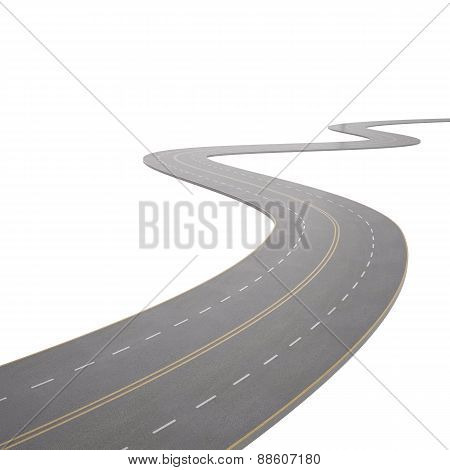 illustration of a curving, bending road, isolated on white background.