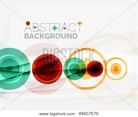 Circle geometric shape composition abstract vector background with crumpled paper effect
