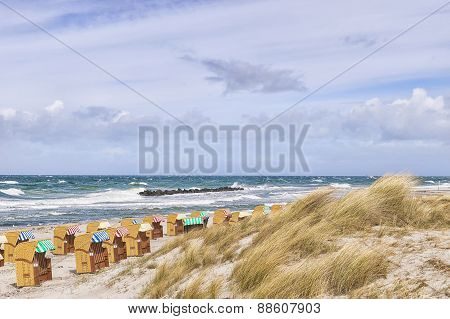Beach Chairs With Dunes At Wustrow