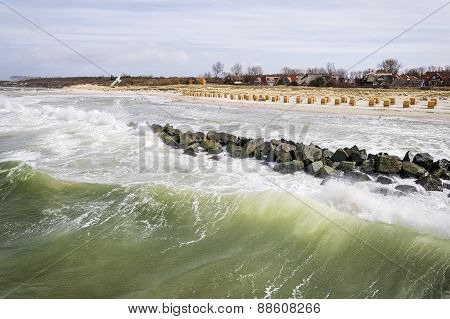 Seaside Wustrow With Wild Waves