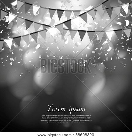Party flags celebrate abstract background with confetti. Vector dark design
