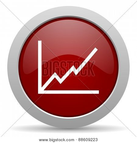 chart red glossy web icon