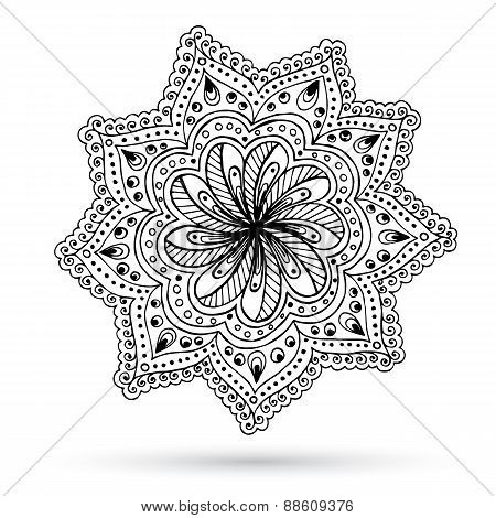 Henna Paisley Mehndi Doodles Abstract Floral Design Element.