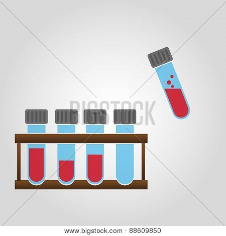 Science Laboratory Glass Tubes With Blood Eps10