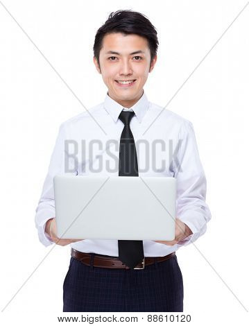 Businessman use of notebook