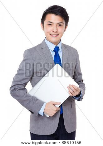 Businessman hold with laptop