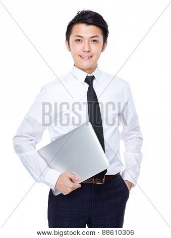 Businessman carry with laptop