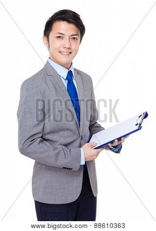 Businessman hold with file pad