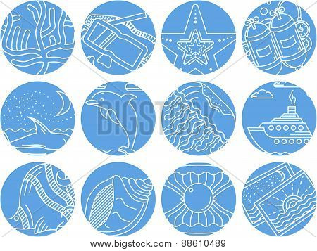 Maritime round icons vector collection