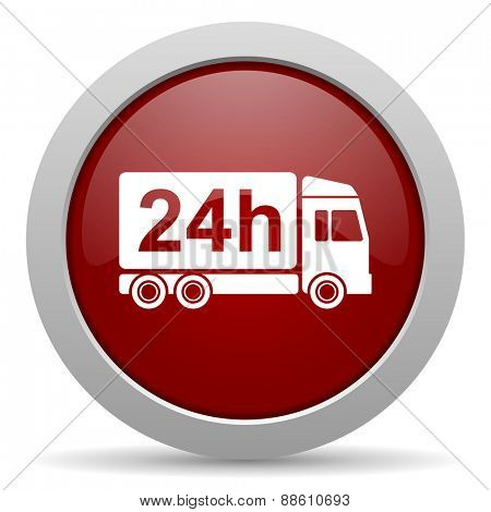 delivery red glossy web icon