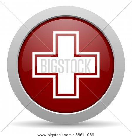 pharmacy red glossy web icon