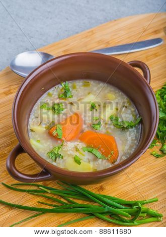 Traditional Barley Soup In A Bowl