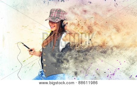 Girl Listening to Music over graffiti background