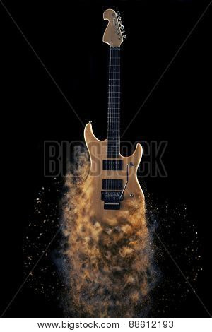 Sexy electric guitar with fusin effect natural wood