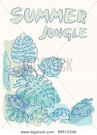 Summer Jungle Palm Leaves Illustration