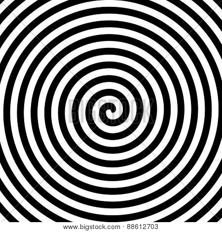 Black and white hypnosis spiral. Vector.