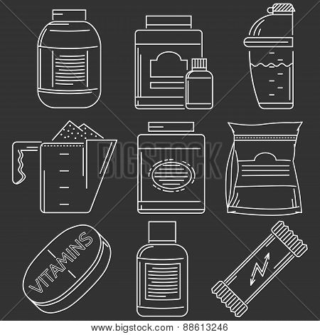 Athlete diet white line vector icons