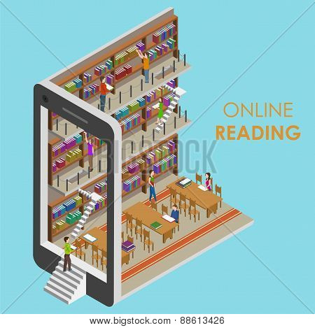 Online Reading Conceptual Isometric Illustration.