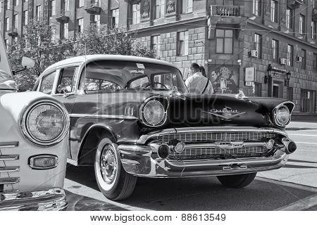 Chevrolet 70 years of release. Black & white photo