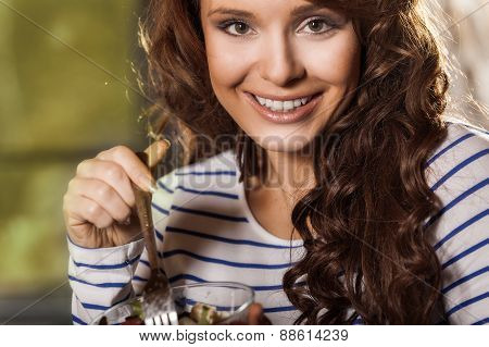 Woman Eating Fresh Vegetable Salad