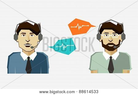 Male Call Center Avatar Icons