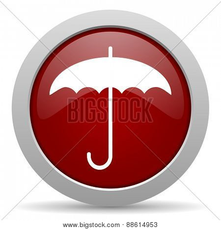 umbrella red glossy web icon