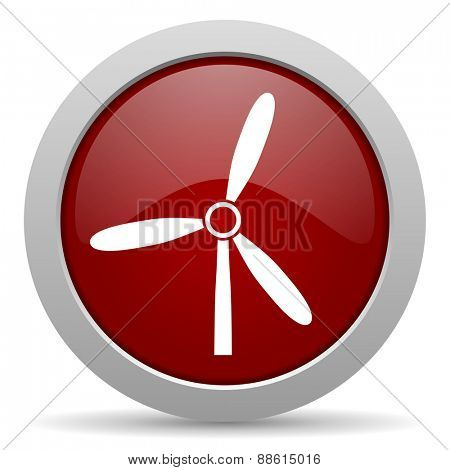 windmill red glossy web icon