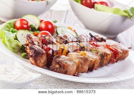 Grilled Shashlik With Vegetables