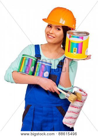 Woman builder  with panting  can.  Isolated on white.