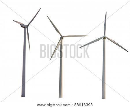 set of wind power generators isolated on white background