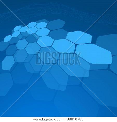 Abstract Blue Background Hexagon. Vector