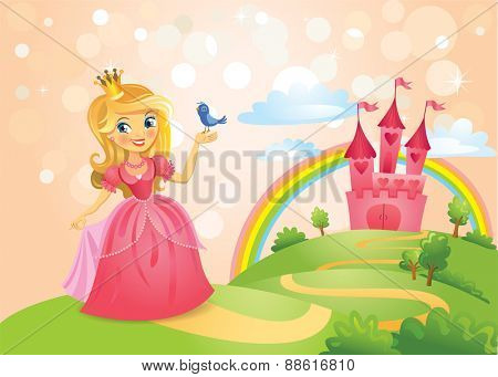 FairyTale landscape, beautiful princess keeping a bird on a hand and the road leading to the castle. Vector illustration