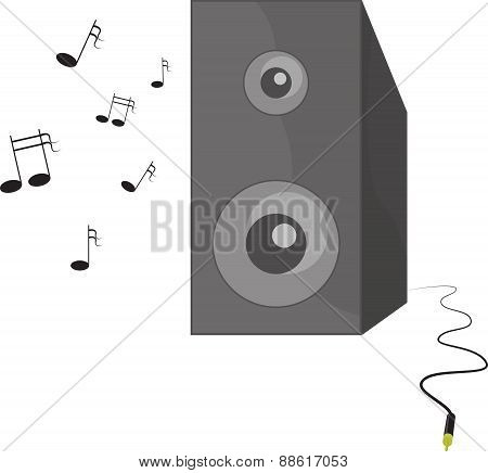 Vector illustration of music playing speaker with cable and connector
