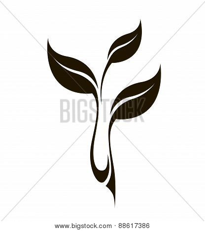 Vector stylized silhouette of spring leaf isolated on white