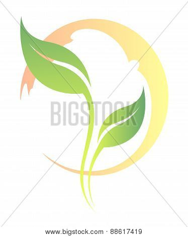 Vector white stylized tea leaf silhouette isolated.