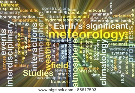 Background text pattern concept wordcloud illustration of meteorology science glowing light