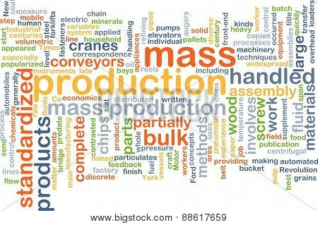Background text pattern concept wordcloud illustration of mass production