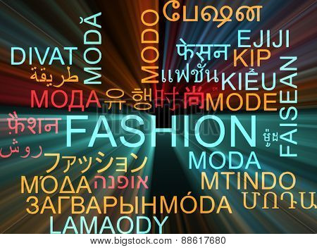 Background concept wordcloud multilanguage international many language illustration of fashion glowing light