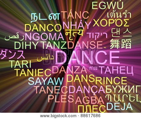 Background concept wordcloud multilanguage international many language illustration of dance glowing light