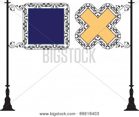 Wrought Iron Signage Vector Illustration