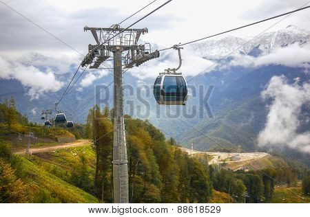 Line of lifts in picturesque mountains of Caucasus