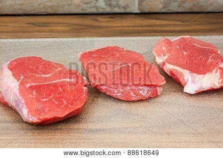 Fresh Steak On A Counter