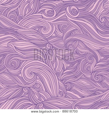 Seamless abstract hand-drawn pattern tangle wavy hair background