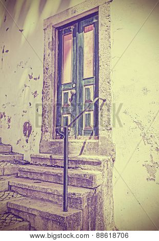 Retro Filtered Picture Of Old Wooden Front Door.